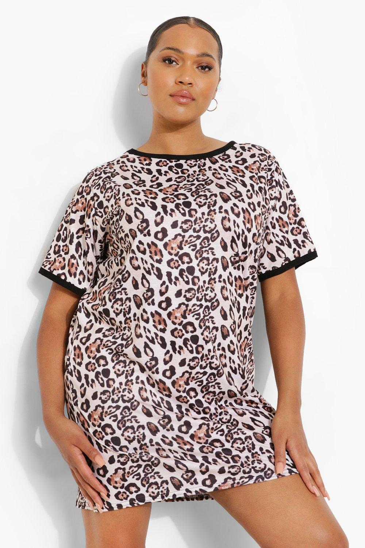 Plus Leopard Ringer T-shirt Dress 8