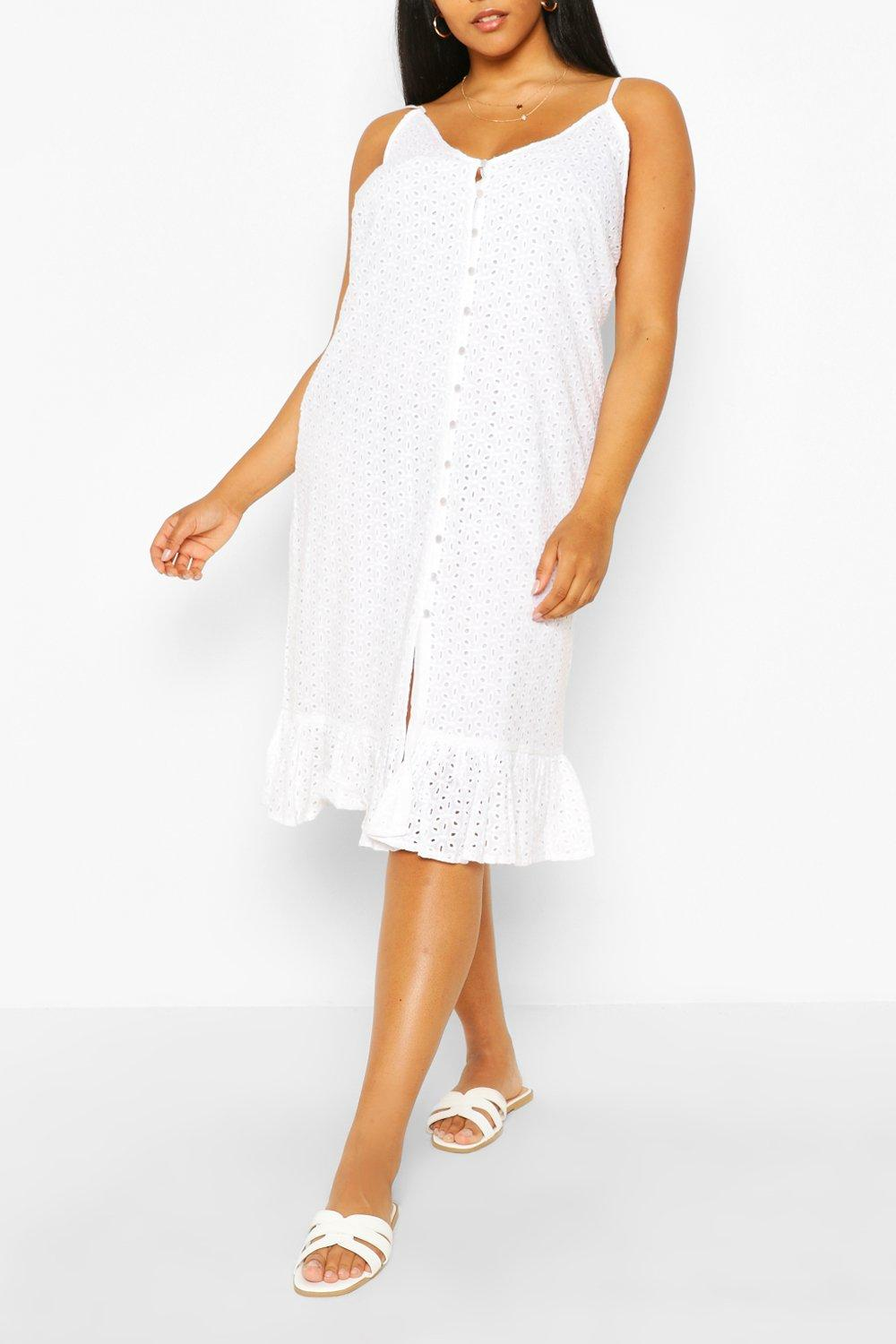 Plus Broderie Anglaise Button Midi Dress 8