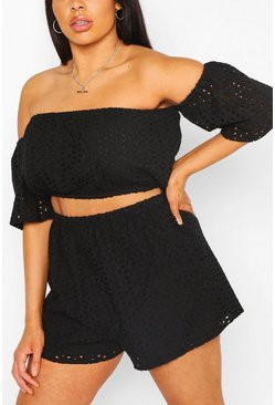 Black Plus Broderie Ruffle Sleeve Top & Short Co-Ord
