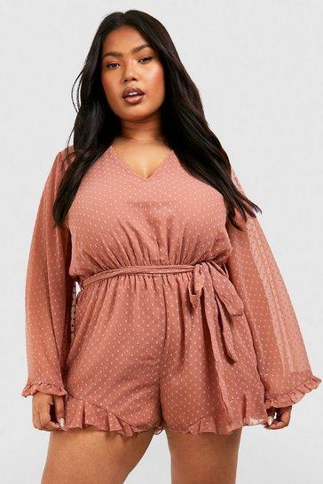 Blush pink Plus Dobby Mesh Flare Sleeve Playsuit