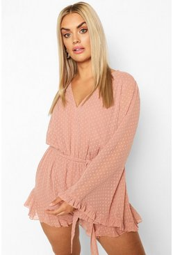 Blush rosa Plus - Playsuit med utsvängd ärm i prickig mesh