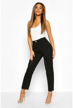 Black Petite Distressed Straight Leg Jeans