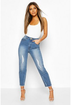 Light blue blue Petite Distressed Straight Leg Jeans