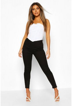 Black Petite Distressed Hem Skinny Jeans