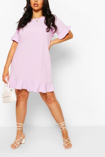 Lilac purple Plus Ruffle Detail Shift Dress