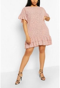 Plus Polka Dot Ruffle Shift Dress, Blush rosa