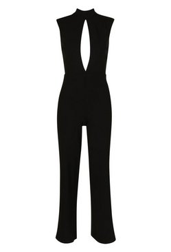 Ivory Petite Power Shoulder Cut Out Jumpsuit