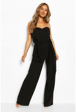 Black Petite Bandeau Bow Detail Wide Leg Jumpsuit
