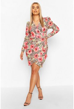 Pink Plus Floral Animal Plunge Wrap Dress