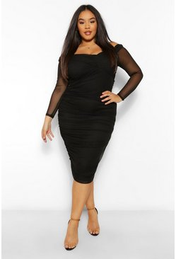 Black Plus Off The Shoulder Ruched Midi Dress