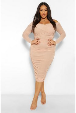 Blush pink Plus Off The Shoulder Ruched Midi Dress