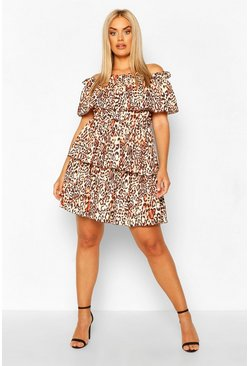Brown Plus Leopard Off The Shoulder Ruffle Skater Dress