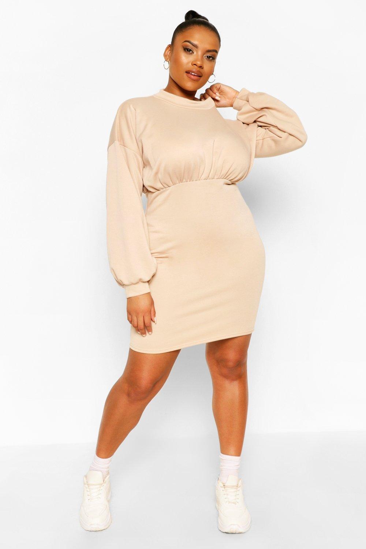 Plus High Neck Puff Sleeve Sweat Dress 6