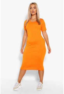 Orange Plus Cap Sleeve Jersey Midi Dress