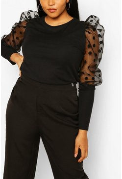 Black Plus Polka Dot Mesh Rib Puff Sleeve Top