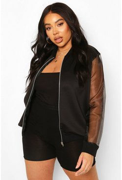Black Plus Organza Sleeve Bomber