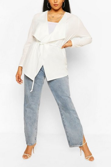 Ivory Plus Tie Belt Waterfall Duster