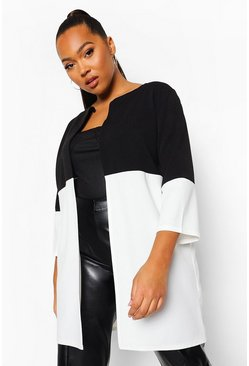 Ivory white Plus Colour Block 3 Quarter Sleeve Duster