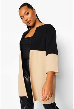 Stone beige Plus Colour Block 3 Quarter Sleeve Duster
