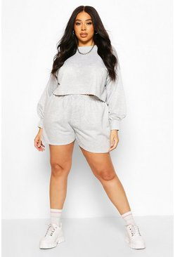 Grey Plus Balloon Sleeve Sweat & Short Set