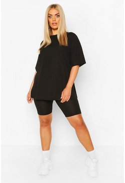 Black Plus Side Split Top & Cycling Short
