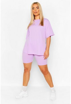 Lilac purple Plus Side Split Top & Biker Short