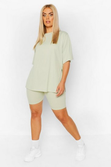 Sage green Plus Side Split Top & Cycling Short