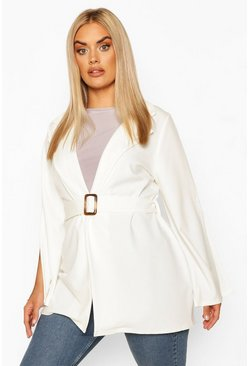 Ivory Plus Split Sleeve Self Belt Blazer