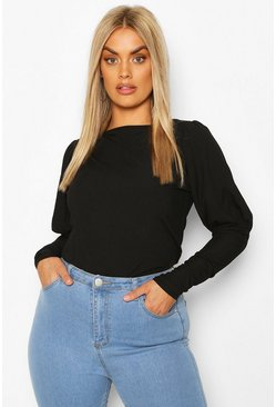 Black Plus Soft Rib Volume Sleeve Top