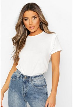 Ivory white Petite Frill Sleeve Rib Top