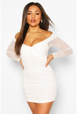 Petite Mesh Ruched Off Shoulder Mini Dress, White
