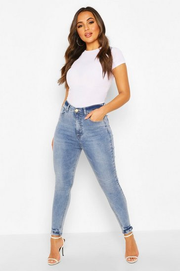 Petite Blue Acid Wash Skinny Jeans