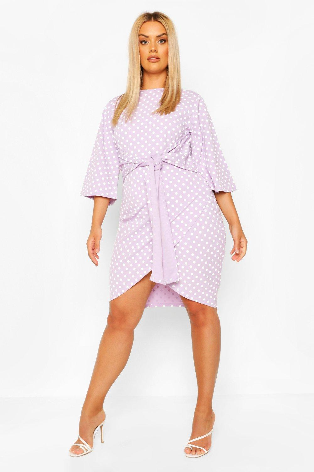 Plus Polka Dot Kimono Sleeve Tie Waist Wrap Dress 8