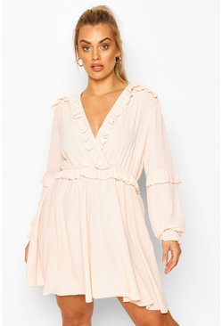 Blush pink Plus Ruffle Plunge Neck Skater Dress