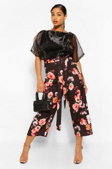 Black Plus Contrast Floral Organza Culotte Jumpsuit