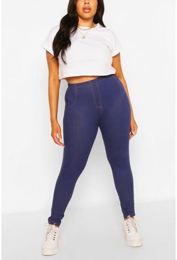 Blue Plus Pocket Back Basic Jeggings