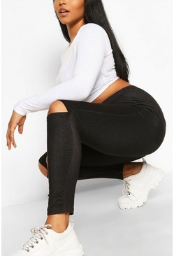 Black Plus Split Knee Pocket Basic jeggings