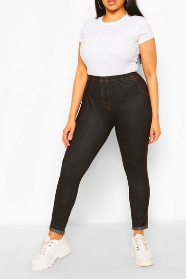 Indigo blue Plus Basic Turn Up Pocket Back Jegging