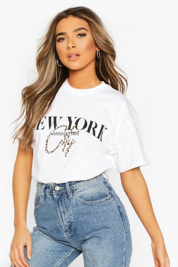 White Petite Leopard City Slogan T-Shirt