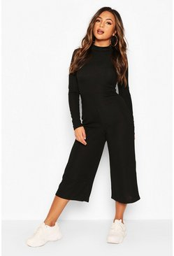 Olive Petite High Neck Ribbed Culotte Jumpsuit