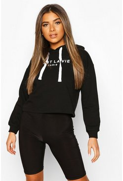 Black Petite French Slogan Cropped Hoodie