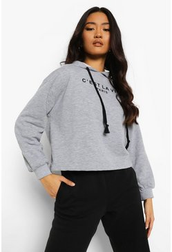 Grey marl grey Petite French Slogan Cropped Hoodie