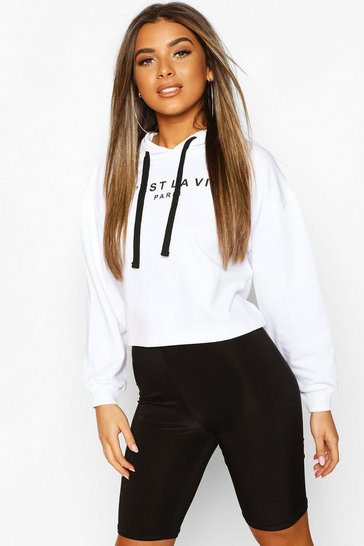 White Petite French Slogan Cropped Hoodie