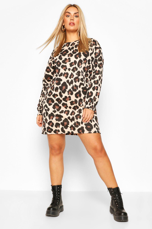 Plus Leopard Oversized Sweat Dress 6