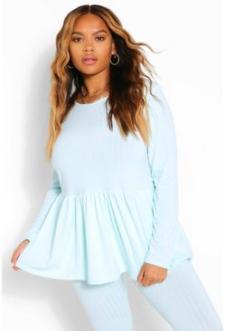 Mint green Plus Rib Smock Lounge Set