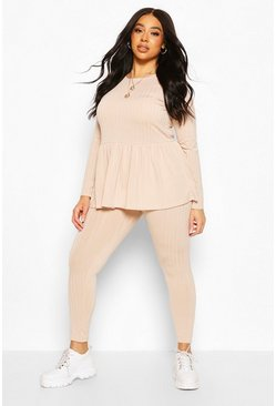 Nude Plus Rib Smock Lounge Set
