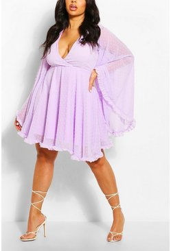 Lilac purple Plus Dobby Chiffon Wide Sleeve Skater Dress