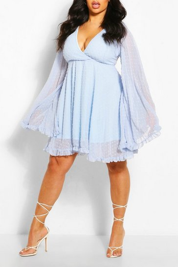 Pastel blue blue Plus Dobby Chiffon Wide Sleeve Skater Dress