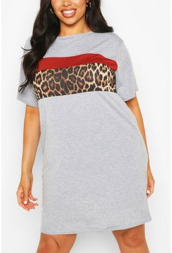 Grey Plus Contrasterende Dierenprint Colour Block T-Shirtjurk