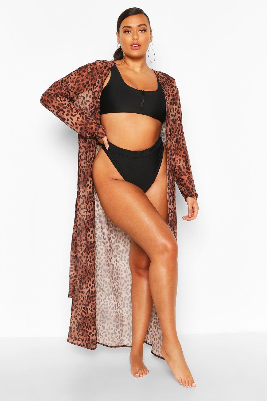 Plus Cheetah Printed Maxi Kimono 8